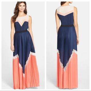 Katherine Colorblock Pleated Maxi Dress